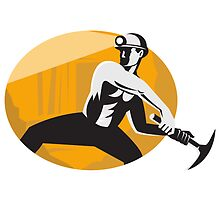 Coal Miner With Pick Ax Striking Retro by patrimonio