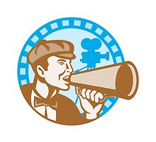 Movie Film Director With Bullhorn And Camera Retro by patrimonio