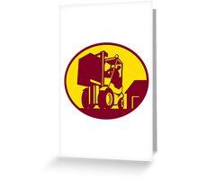 Forklift Truck Operator Retro Greeting Card