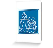 Lady Blindfolded Holding Scales of Justice Greeting Card