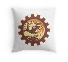 Welder Worker Welding Torch Retro Throw Pillow