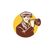 Man Shouting With Vintage Bullhorn Retro Photographic Print