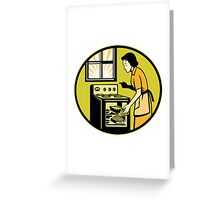 Housewife Baking Bread Pastry Dish Oven Retro Greeting Card