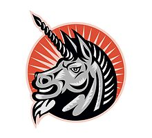 Angry Unicorn Head Retro Woodcut by patrimonio