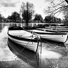 Shakespeare&#x27;s boats at Stratford upon Avon in monochrome by Elana Bailey
