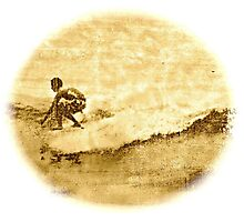 Sepia Surfer Photographic Print