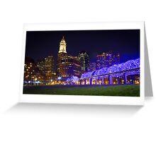 Christopher Columbus Park, Boston, Night Greeting Card
