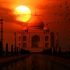 Taj Mahal Sunset by Anthony  Poynton
