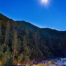Moon over Merced River, night by Philip Kearney