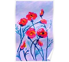 Poppies blowing in a cool  breeze. watercolor Poster