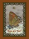 Hi Hello Greeting Card - Olive Hairstreak Butterfly by MotherNature