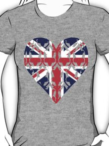 Union Jack Sherlock Wallpaper Heart T-Shirt