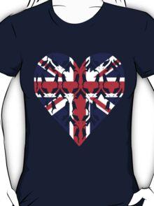 Union Jack Sherlock Wallpaper Heart T-Shirt