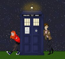 Amy Pond, the Doctor, and the TARDIS by Kileigh Gallagher