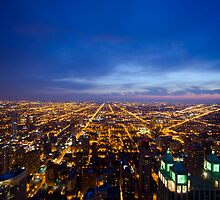 Chicago Cityscape West at Night by Daisy Yeung