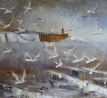 Gulls and Breakwater 2 by Sue Nichol