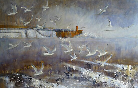 Gulls and Breakwater 2 by Sue Nichol