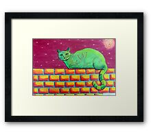354 - GREEN CAT ON A WALL - DAVE EDWARDS - COLOURED PENCILS - 2012 Framed Print