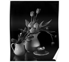 The Beauty of Tulips in Black and White Poster
