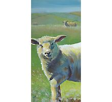 Cheeky Sheep on a hazy sunny day painting Photographic Print