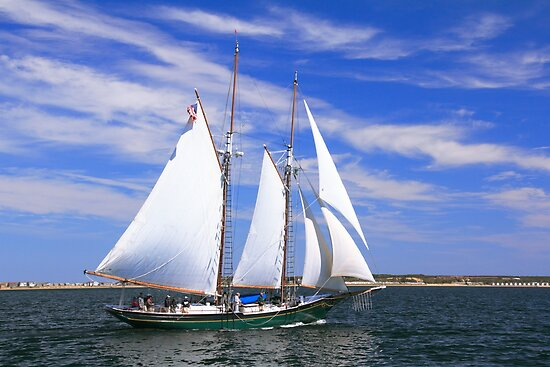Schooner Sailing on Cape Cod Bay by Roupen  Baker