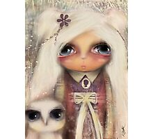 cameo girl and owl companion Photographic Print
