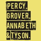 Percy, Grover, Annabeth & Tyson by keyweegirlie