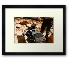 Photographer with his equipment Framed Print