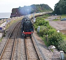 BR standard class 7 7000 Brittania passing through Dawlish by Keith Larby