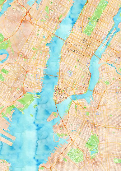 New York Watercolor Poster by Traut1