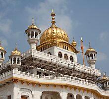 Scaffolding at upper levels of the Akal Takht in the Golden Temple by ashishagarwal74