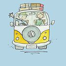 Volkswagen VW Camper Van Happy Holiday Couple by AndyLanhamArt