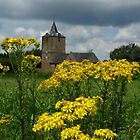 Church behind flowers by Peter Wiggerman