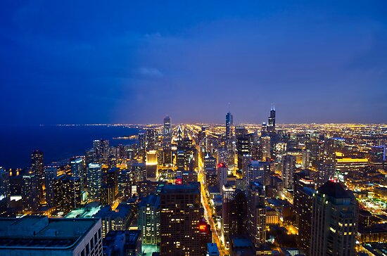 Chicago Cityscapes South at Night by Daisy Yeung
