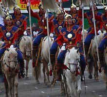 Mongolian Horsemen by GayeL Art