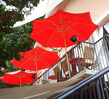 Red hot parasols by Carol Dumousseau