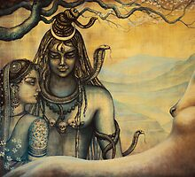 Shiva and Parvati. Spring in Himalayas by Vrindavan Das