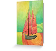 Cubist Abstract Sailing Boat Greeting Card