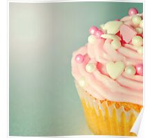 Pink Cupcakes with Lovehearts Poster