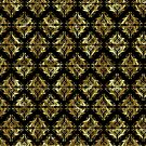 Black And Gold Seamless Damask Geometric Pattern by artonwear