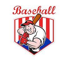 Baseball Player Batting Diamond Cartoon by patrimonio