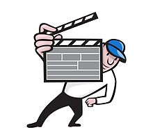 Director With Movie Clapboard Cartoon by patrimonio
