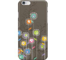Colorful Abstract Retro Flowers, Brown Background iPhone Case/Skin