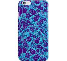 Purple And Blue Vintage Floral Ornate Damasks Pattern iPhone Case/Skin