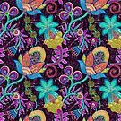 Colorful Abstract Retro Flowers Beads Look Design by artonwear