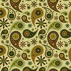 Pastel Brown ANd Beige Tones Retro Paisley Pattern by artonwear