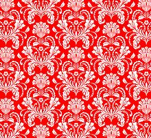 Red And White Ornate Floral Damasks Pattern by artonwear