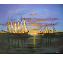 Two Schooners at Sunset, Old Norfolk, Virginia 1925 Photographic Print