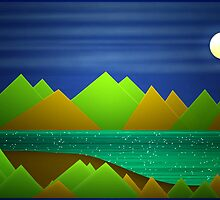 Night Mountains Landscape by DFLC Prints