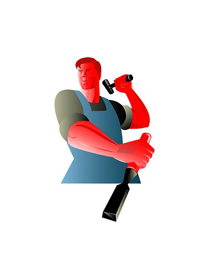 carpenter tradesman worker with chisel and hammer by patrimonio